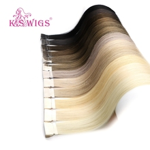 K.S WIGS Straight Remy Hand Tied Tape PU Skin Weft Human Extensions Salon Samples 10pcs For Testing 16 20 24