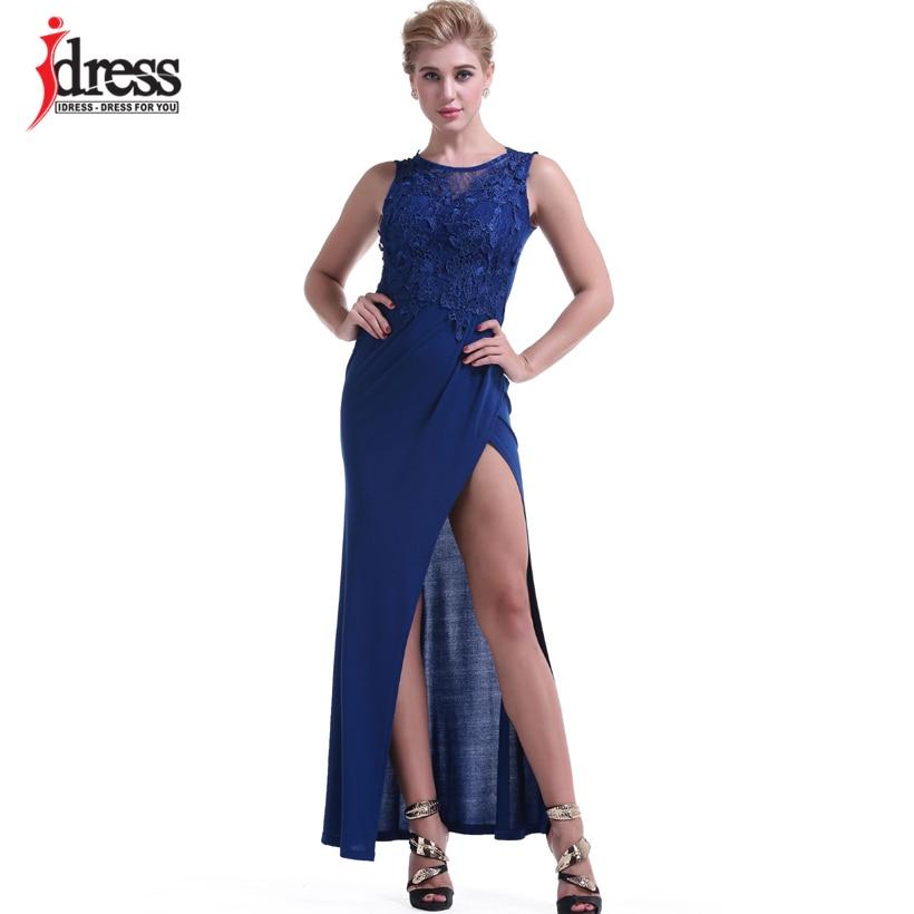 IDress Women Clothing Fashion 2017 Vestido Sexy Bodycon Summer Evening Long Dress O Neck Floor Length High Slit Black Maxi Dress (13)