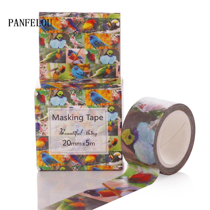 PANFELOU 2CMx5M birds cartoon Stickers border masking adhesive line paper washi tape DIY Scrapbooking Hand account