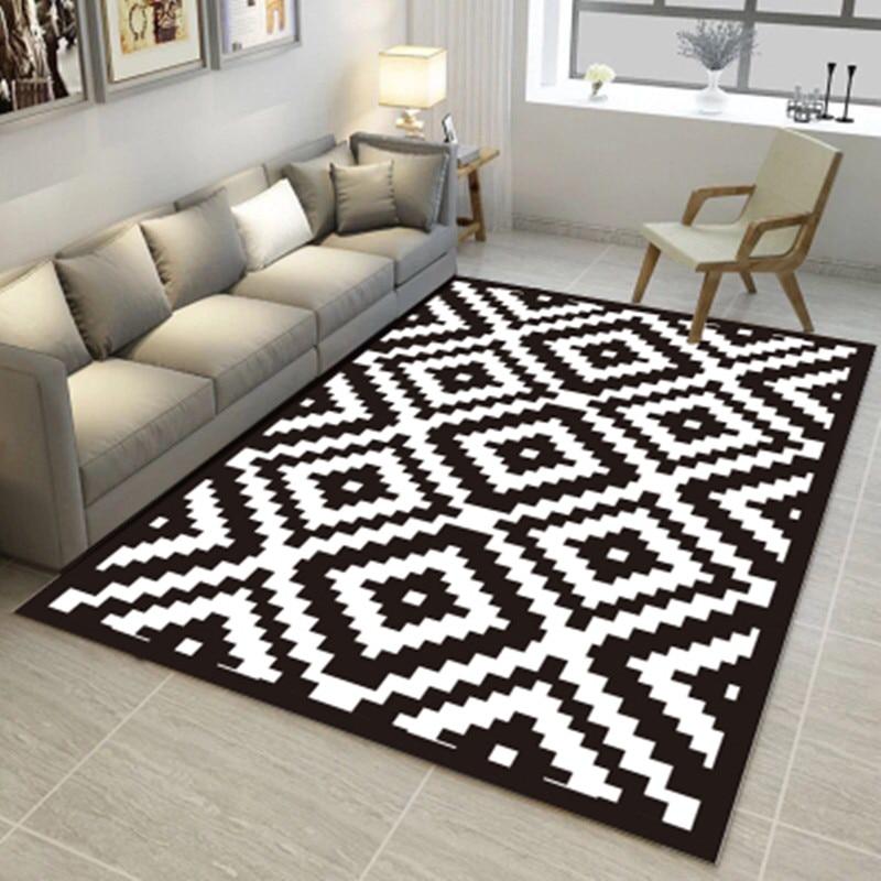 Black And White Lattice Pattern Carpet Home Bedroom Decor Floor Mat Enchanting Carpets For Bedroom Decor