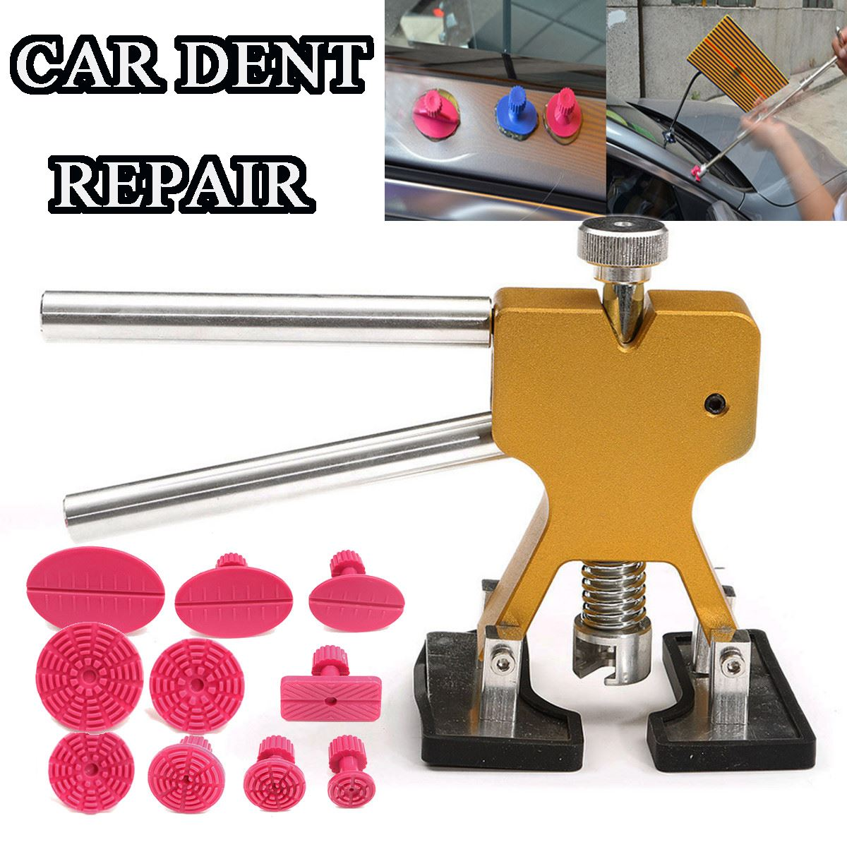Adjustable Car Paintless Dent Remover Lifter PDR Repair Tool Dent Puller Glue Puller Hand Dent Lifter + 10Pcs Pink Tabs golden car dent lifter glue puller with 18pcs blue tabs repair hail removal tool