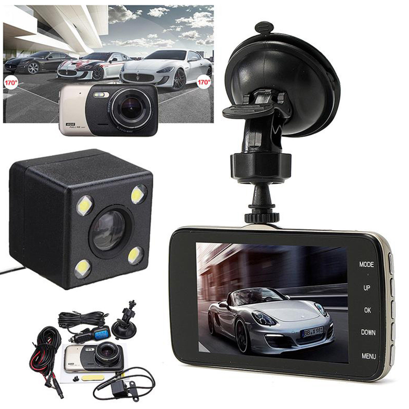 4 0 inch Dash Cam HD 140 Degree Wide Angle Night Vision Auto Rearview Video Recorder Dual Lens Double Recording Car DVR 5 in DVR Dash Camera from Automobiles Motorcycles