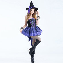 Mujeres sexy de halloween corto dress gothic reina bruja disfraces outfit fancy cosplay carnival costume sexy vestidos w880300