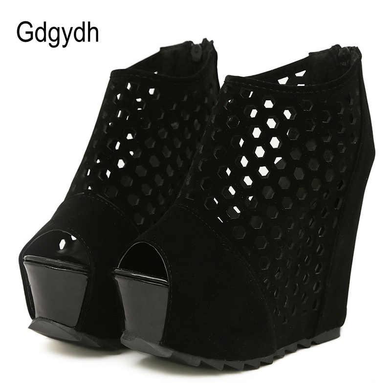 Gdgydh ซิปแพลตฟอร์ม Wedges รองเท้าสำหรับ Women ฤดูใบไม้ผลิสุภาพสตรีรองเท้าแฟชั่นฤดูร้อน Peep Toe ปั๊มผู้หญิง Hollow OUT