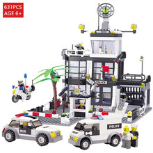 Police Station Building Blocks 631pcs Compatible with LEGO police Cop Car Truck Bricks Toys Birthday Gift brinquedos цена 2017