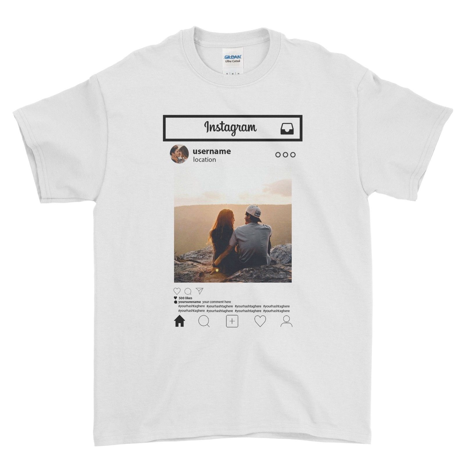 Personalised T Shirt Instagram Frame Style Insta Photo Image Custom Hen Stag 100 Cotton Short Sleeve O Neck Tops Tee Shirts in T Shirts from Men 39 s Clothing