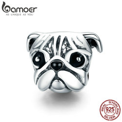BAMOER 100% 925 Sterling Silver Lovely Animal Pug Dog Head Charm Beads fit Women Charm Bracelets & Necklaces DIY Jewelry SCC834