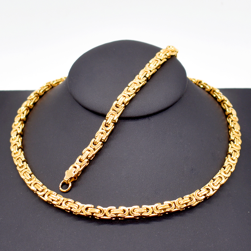 Mens Gold Byzantine Necklace: AMUMIU Mens Gold Color Chain Stainless Steel Necklace