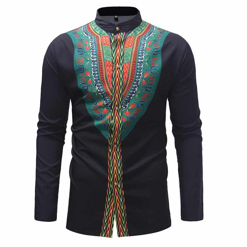 UUYUK Men Irregular Dashiki African Print Stand Collar Button Up Shirts