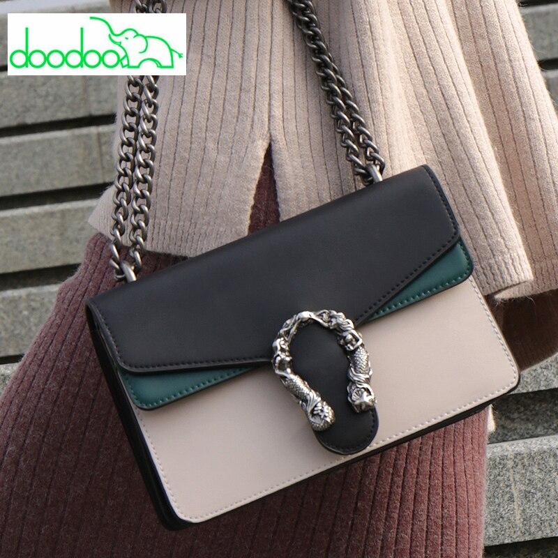Fashion Lady Patchwork Chain Shoulder Bag Casual Fashion Crossbody Bag for Women High Quality Designer Purses