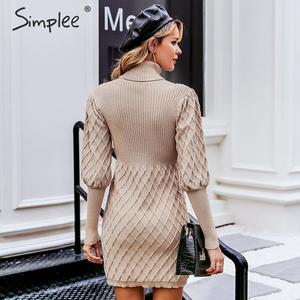 Image 4 - Simplee Turtleneck long cable knitted women pullover sweater dress Vintage autumn winter lantern sleeve female outwear dresses