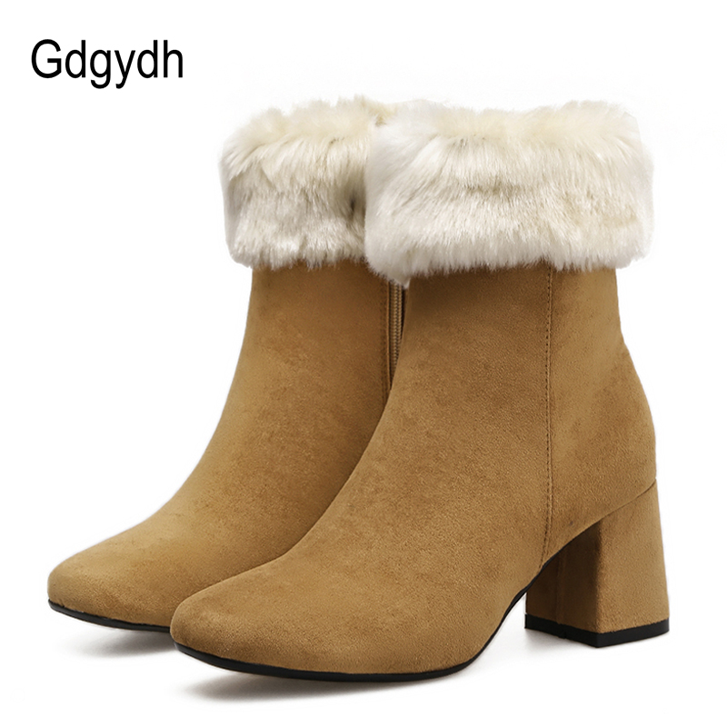 Gdgydh Fashion Fur Snow Boots Women Turned-over Shaft 2017 New Plush Inside Warm Ladies Winter Shoes  For Russian Good Quality