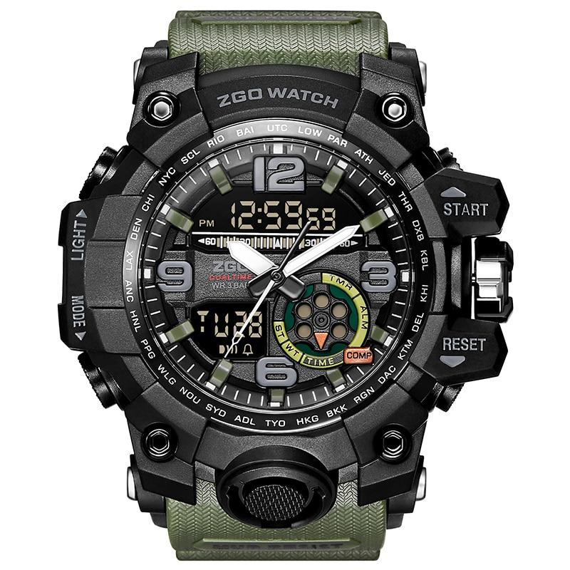Zgo Brand Men Sports Watches Military Watch Casual LED Digital Watch Multifunctional Wristwatches 30M Waterproof
