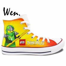 Wen Anime Yellow  Hand Painted Shoes Design Custom Lego Ninjago Men Women's High Top Canvas Sneakers for Gifts