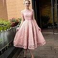 Elegante Rosado Encantador Con Cuentas de Té de Longitud 2017 Nueva Sexy Apliques de Encaje Mujeres ocasión Especial Vestido de Cóctel robe de vestido de cóctel