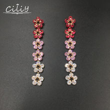 Ciliy Drop Earrings Women Fashion Mixed Color Small Flowers Fringe Jewelry Earrings Cubic Zirconia Drop Earrings A4328XM(China)