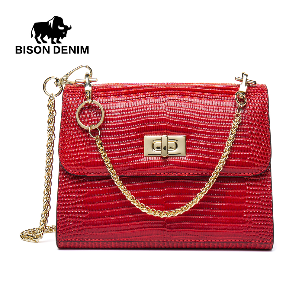 BISON DENIM Brand Shoulder Bag Female Handbag For Women Messenger Bags Chain Small Crossbody Bag Red/Black/Green N1415 купить