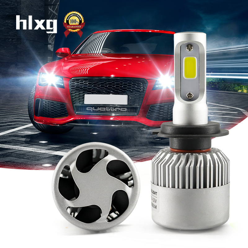 HLXG 72W 8000LM All In One H7 Lamp Cooling Fan COB Chip 6500K H3 H7 Led 12V Car Headlight Single Beam Auto Replacement Parts N2 all in one canbus 80w 8000lm cree chip led h4 hi