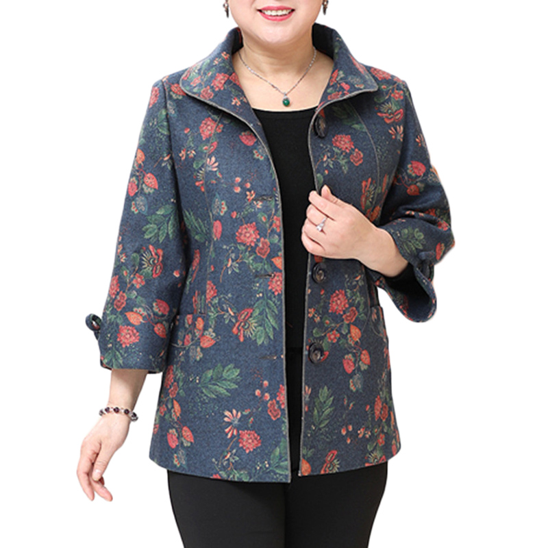 Spring Autumn New Plus size Windbreaker Middle-aged women Loose Casual   Trench   Coat Womens Trumpet sleeve Print Overcome 9XL F489