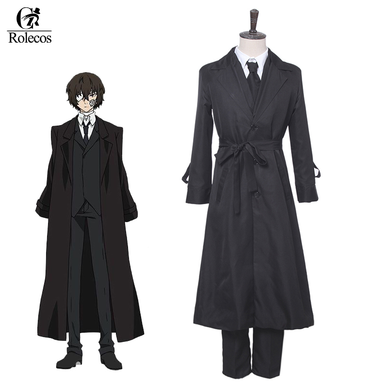 Rolecos Japanese Anime Bungo Stray Dogs Cosplay Costume Dazai Osamu Cosplay Costume Dazai Osamu Black Trench Pant Tie 3 PCS Sets