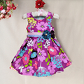 Top quality Poplin Baby Girls Summer Dress Purple Flower print casual dresses kids girl fashion children clothing