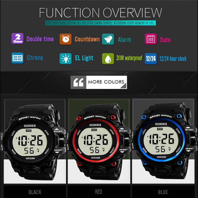 все цены на Fashion Waterproof Men's Boy LCD Digital Stopwatch Date Rubber Sport Wrist Watch Luminous wrist watch Luxury brands Sport #4M03