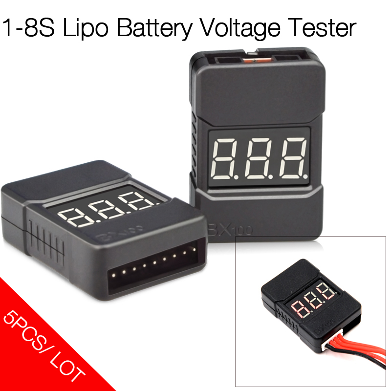 HotRc BX100 1-8S Lipo Battery Voltage Tester/ Low Voltage Alarm/  Voltage Checker for RC Model