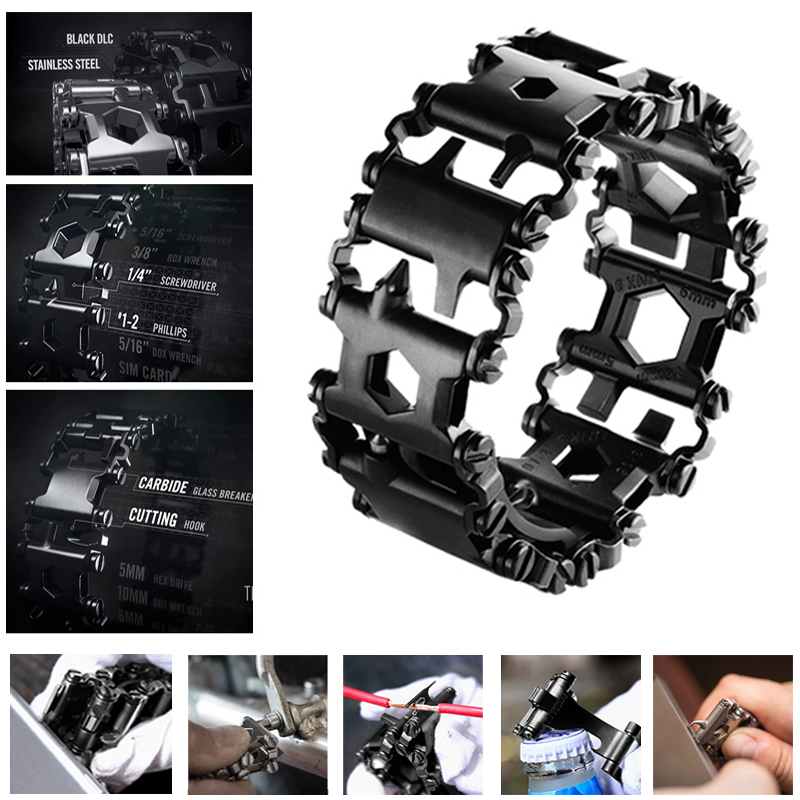 Hottime Punk Style Stainless Steel Outdoor 29 Kinds of Multi-functional Tool Bracelet. Portable Multi Tools for Camping Hiking 29 in 1 portable outdoor survival edc tool bracelet multi functional wearable tread stainless steel punk link bracelets strap