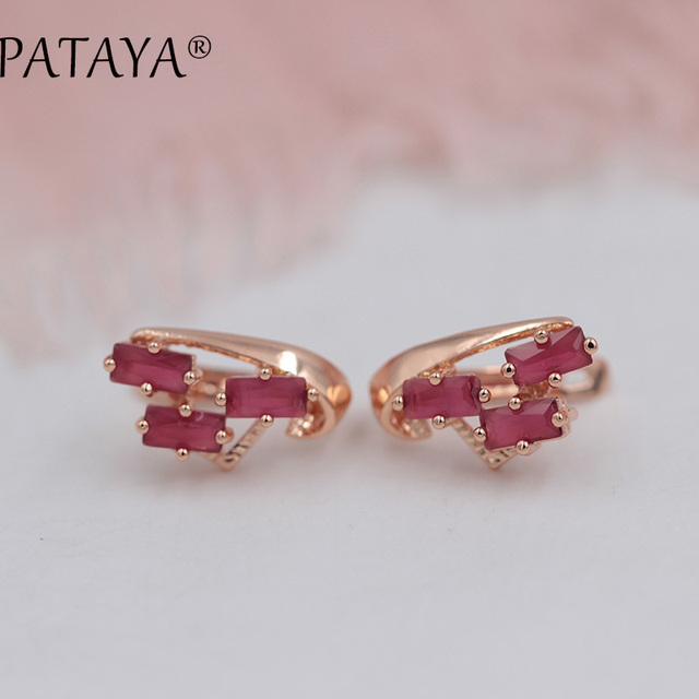 PATAYA Exclusive Multicolor 585 Rose Gold Earring Green Square Natural Cubic Zirconia Dangle Earrings Women Fine Bohemia Jewelry