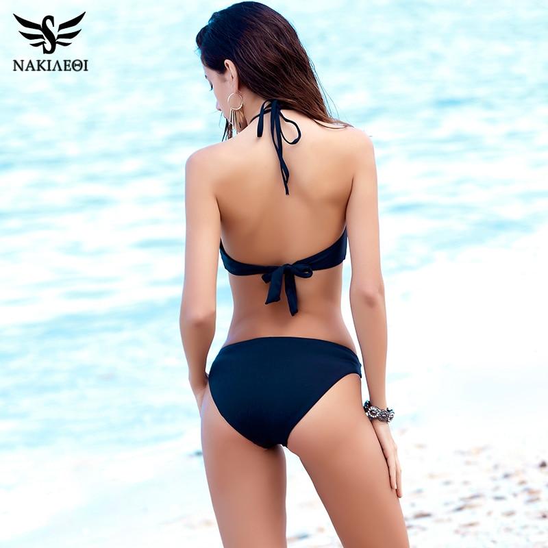 NAKIAEOI Sexy High Neck Bikini Women Swimsuit Swimwear 2018 Summer Halter Brazilian Bikini Set Cut Out Beach Bathing Suit Black 2
