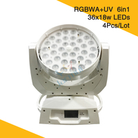 (4Pcs/Lot) Sales Promotion White Housing 36*18W Led RGBWA+UV 6in1 Zoom Moving Head Light