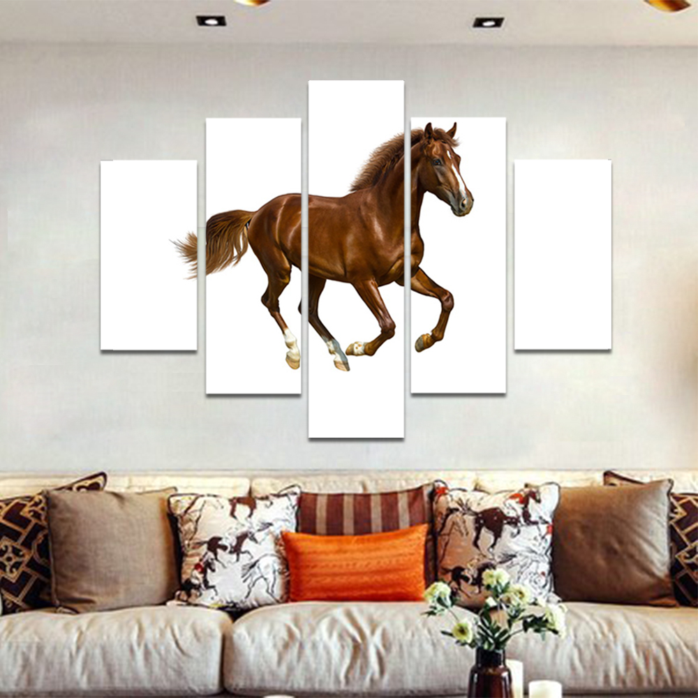 Unframed Canvas Animal Painting On White Brown Horse Picture Prints Wall Picture For Living Room Wall Art Decoration