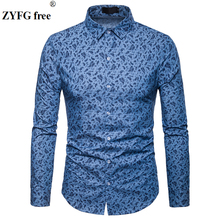 3D printed men Shirts spring 2019 mens shirts long chemise homme casual camiseta masculina dress shirt EU large size