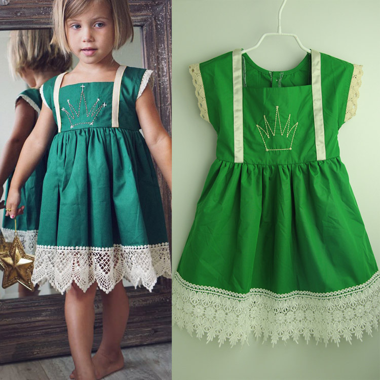 b84d4f3b6ea retail 2017 christmas girl dress kids clothes casual cotton girls dress  green baby girl clothes sleeveless