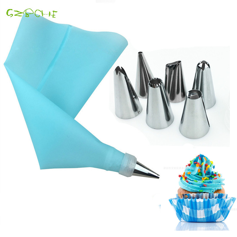 8 Pcs set cake decorating tools Silicone Icing Piping Cream Pastry Bag with 6pcs Stainless Steel
