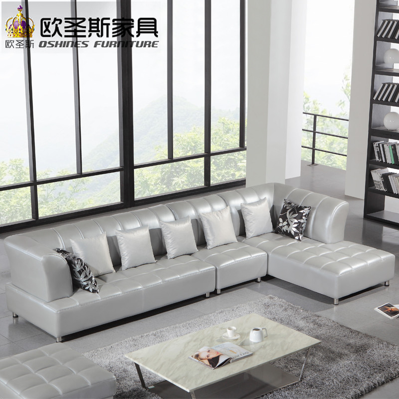 Barcelona Silver Modern Corner L Shape Sectional Cow