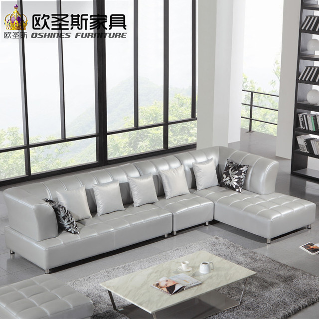 Awesome Barcelona Silver Modern Corner L Shape Sectional Cow Leather Sofa Set  Designs And Prices New 2016