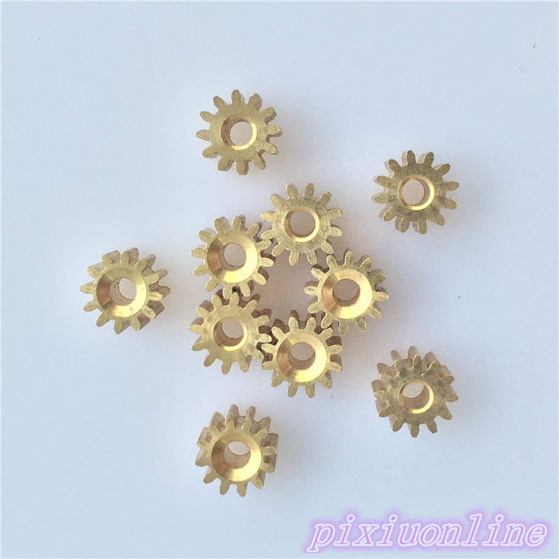 10pcs K092Y 2.3 MM Pore 12 Tooth Brass Motor Shaft Gear DIY Toys Parts  High Quality On Sale