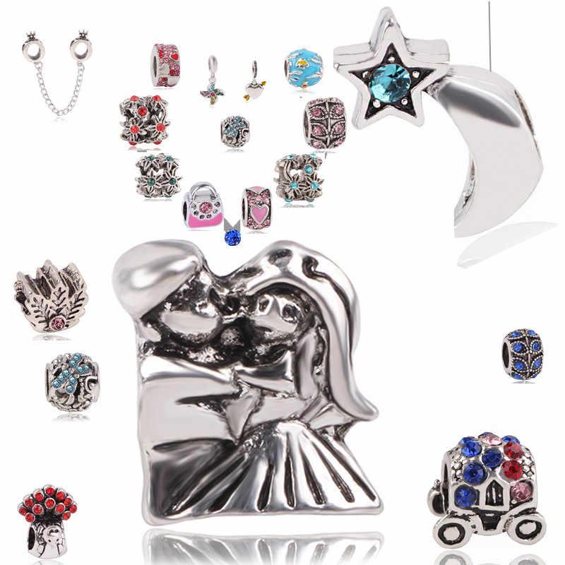 Couqcy Vintage Punk Kleine Sterne Mond Baum Liebe Herzen Blumen Perlen Charms Fit Marke Armbänder & Armreifen Für Frauen Neue mode
