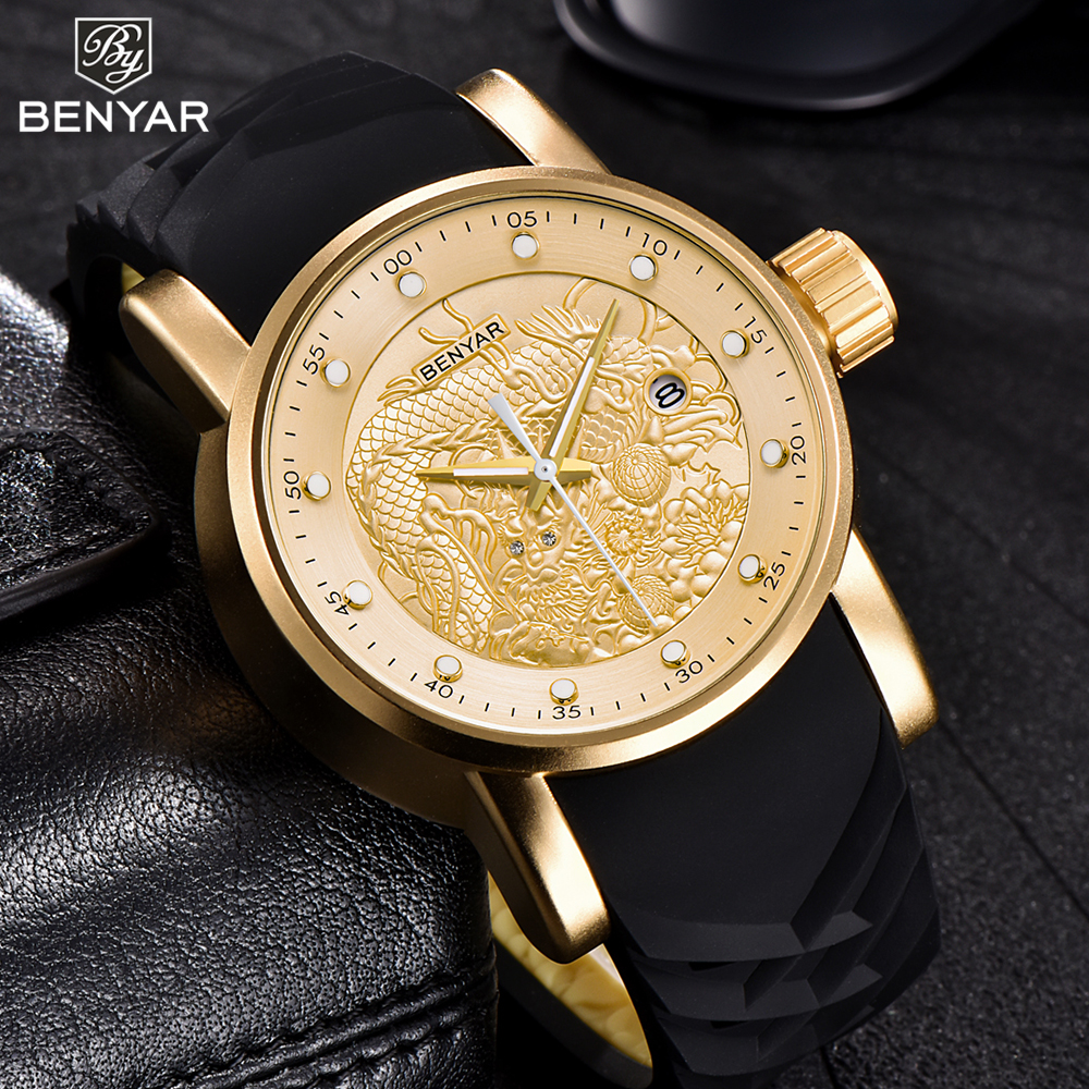BENYAR Totem Mens Stylish Luxury Brand Big Dial Wrist Watch Stereoscopic Silicone Band Fashion Watch Man Quartz Analog Clock fashion men women lovers clocks silicone band black big dial quartz analog wrist watch creative apr22