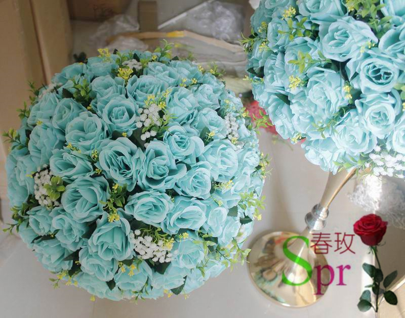 Spr New 2018 Tiffany Blue Wedding Centerpiece Table Flower Ball Decoration Flowers Road Lead 40cm Dia 2pcs Lot In Artificial Dried From