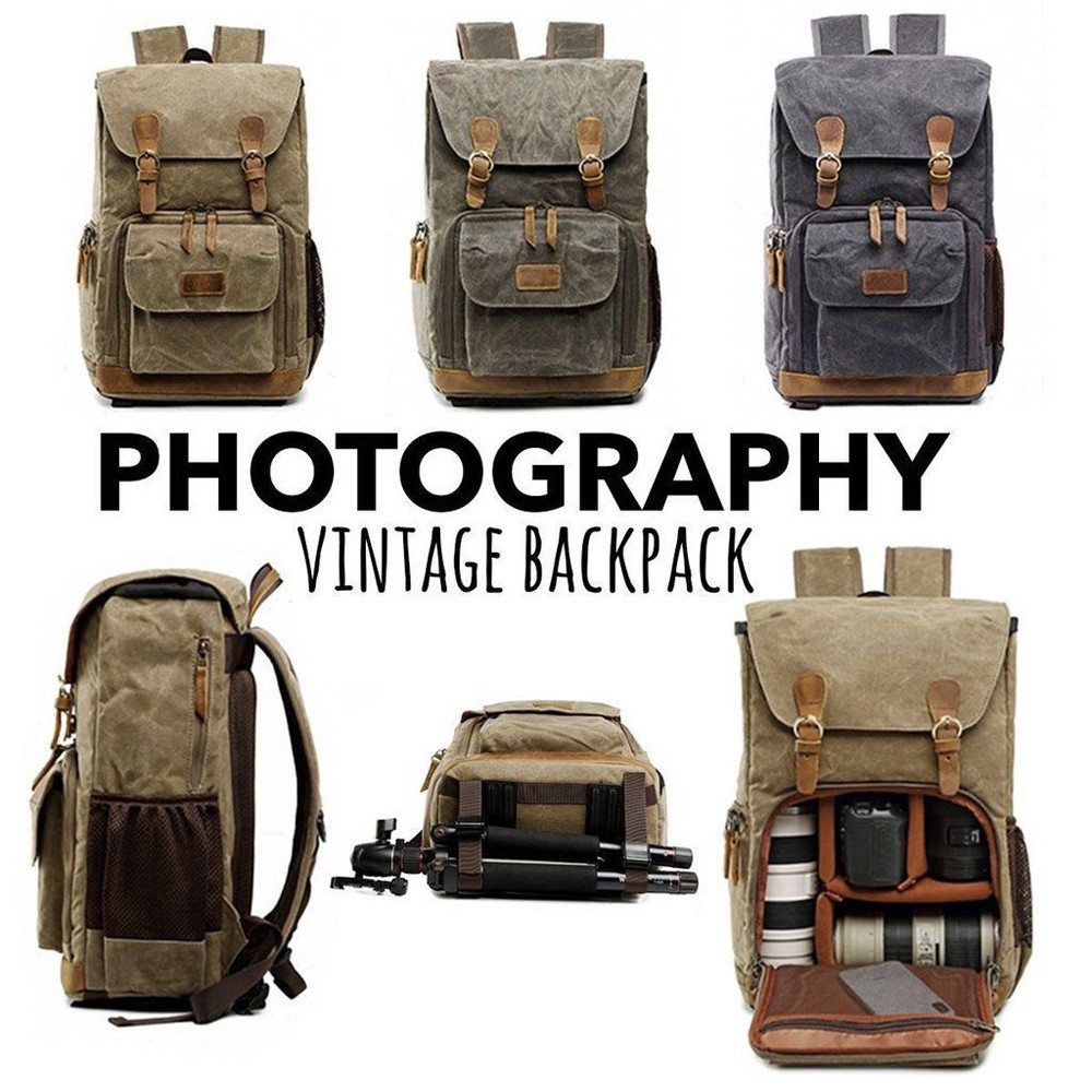 Hot Premium Vintage Photography Backpack Waterproof Photography Canvas Bag Travel Outdoor climbing hiking Backpack