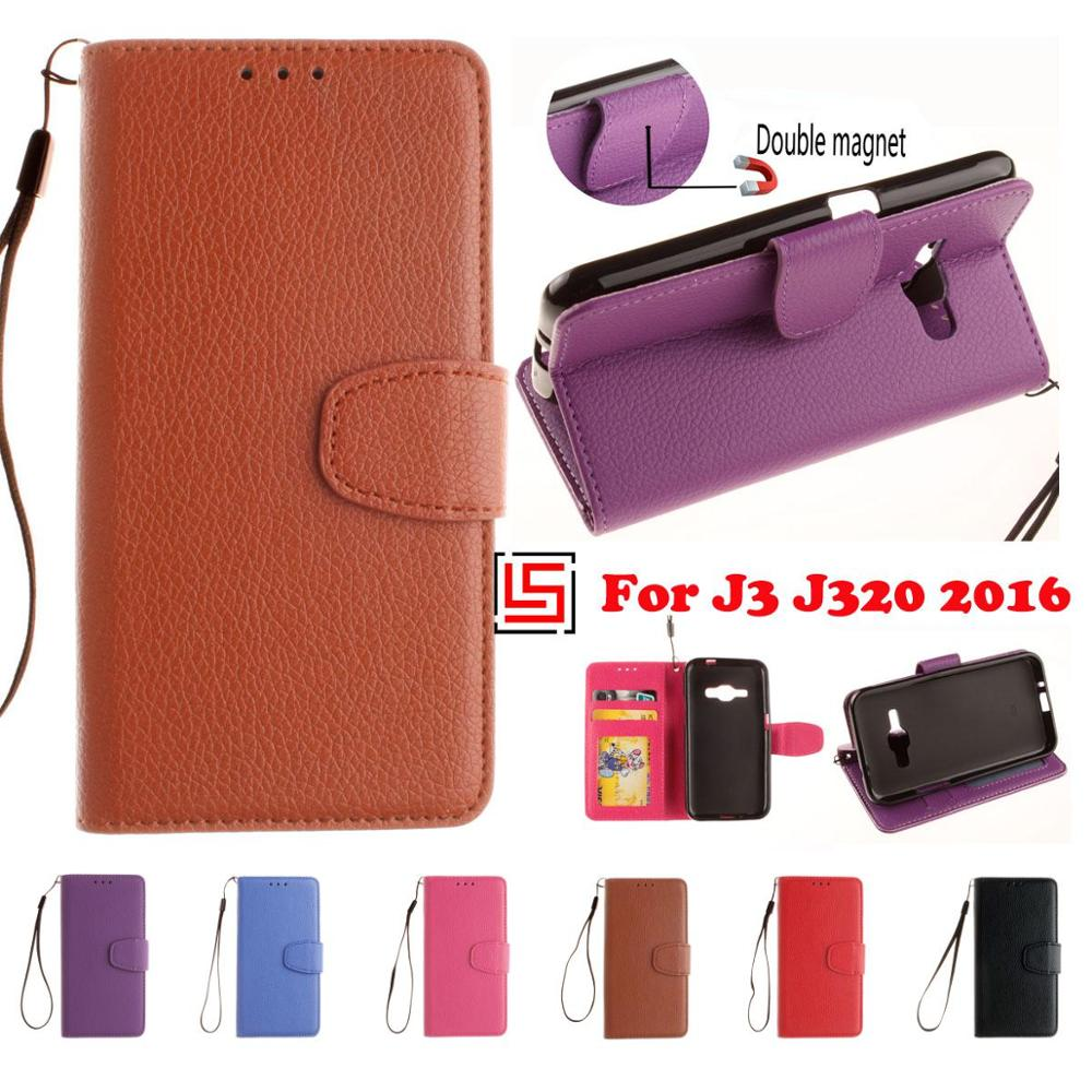 PU Leather Lather Leathe Flip Clamshell Wallet Wallt Stand Phone Cell Case caso Cover For Samsung Galaxy Galaxi J3 2016 J320