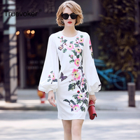 Truevoker Designer Spring Dress Women High Quality Puff Sleeve Fancy Floral Printed Beading Sequins Boutique Cotton White Dress