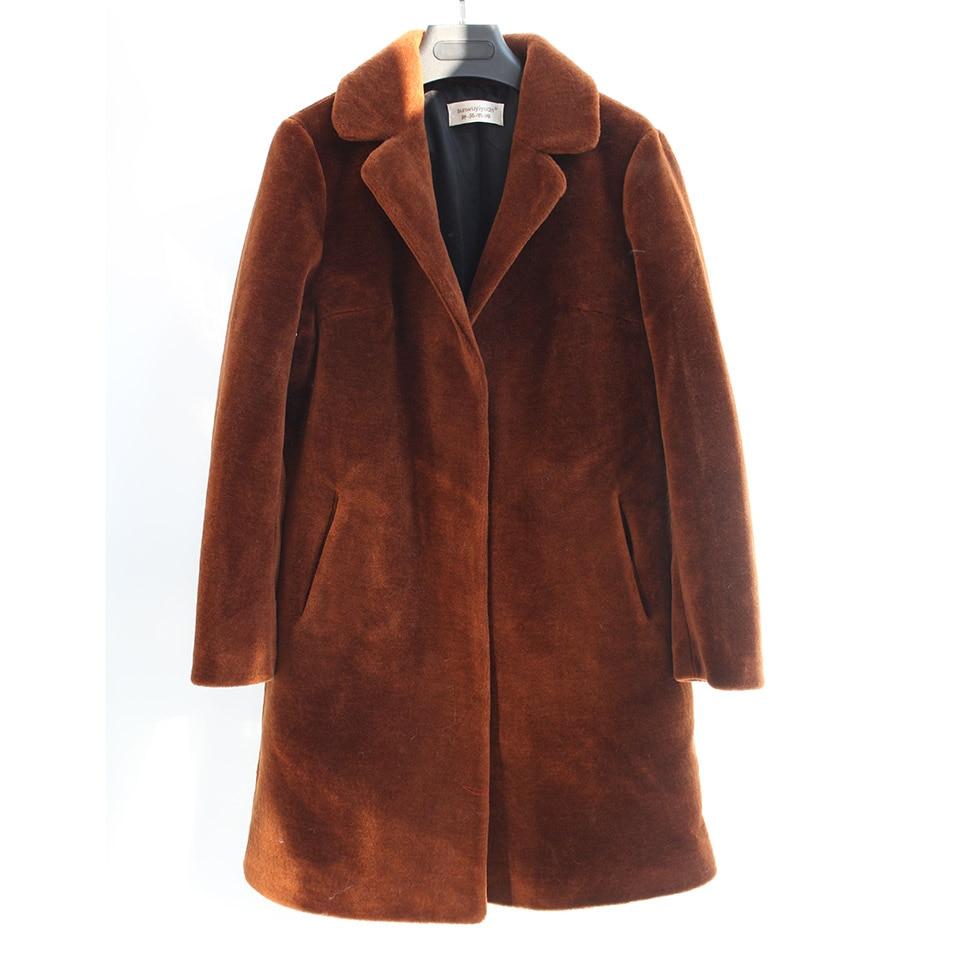 Настоящее Овцы пальто с мехом для женщин зимняя теплая куртка Длинные рукава моды натуральная Мерино мех Куртки Femme пиджаки плюс большие ра...