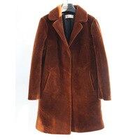 Настоящее Овцы пальто с мехом для женщин зимняя теплая куртка Длинные рукава моды натуральная Мерино мех Куртки Femme пиджаки плюс большие ра
