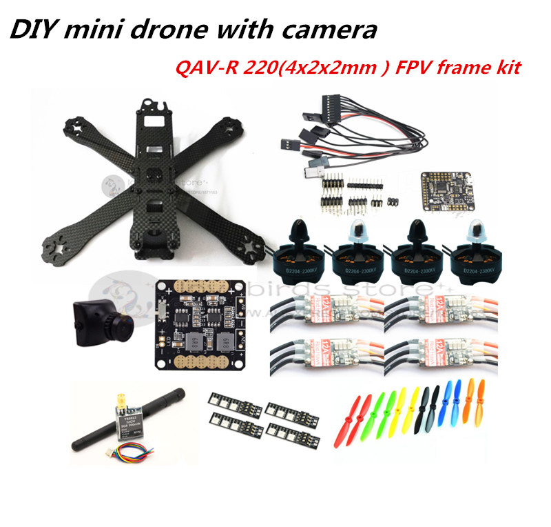DIY mini drone QAV-R220 pure carbon 4x2x2 FPV frame kit D2204 + Red Hawk BL12A ESC OPTO + NAZE32 Rev6 + 700TVL camera + TS5823 new diy fpv mini drone qav r 260 quadcopter pure carbon frame kit frame cc3d naze32 d2204 motor emax blhli 12a esc 5045 prope