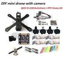 DIY mini drone QAV-R220 pure carbon 4x2x2 FPV frame kit D2204 + Red Hawk BL12A ESC OPTO + NAZE32 Rev6 + 700TVL camera + TS5823