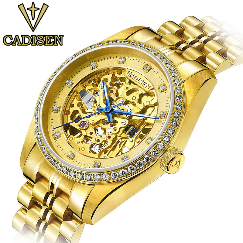 Original CADISEN Men Mechanical Watches Men Luxury Brand watch Full Steel Waterproof