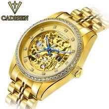 2016 оригинал cadisen мужчины механические часы мужчины люксовый бренд часы полный стали водонепроницаемый бизнес автоматические наручные часы